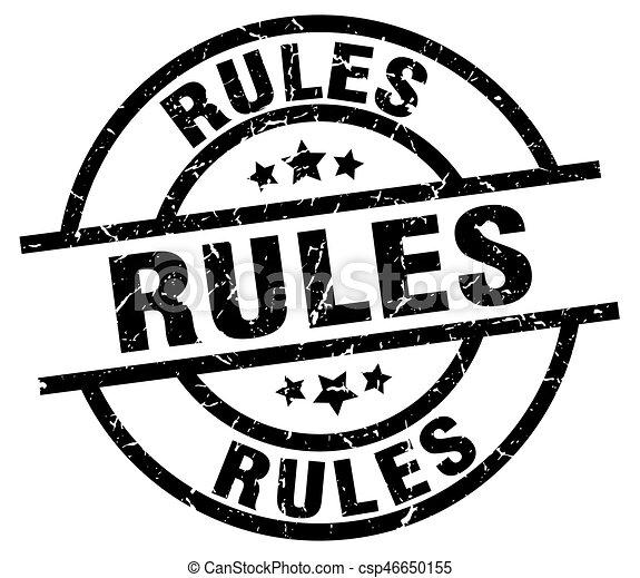 rules round grunge black stamp - csp46650155