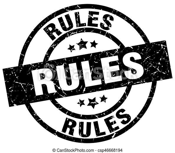 rules round grunge black stamp - csp46668194