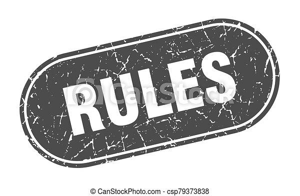 rules sign. rules grunge black stamp. Label - csp79373838
