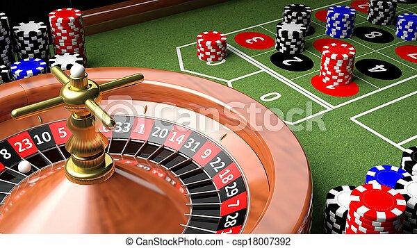 Primer plano de la mesa del casino con ruleta y patatas fritas - csp18007392