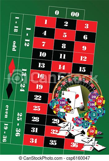 Mesa de ruta y elementos del casino - csp6160047