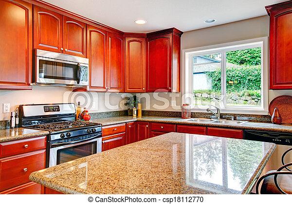 rum, kombination, körsbär, lagring, lysande, ved, kök - csp18112770