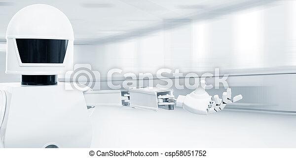 rum service, robot, främre del, autonom, tom - csp58051752
