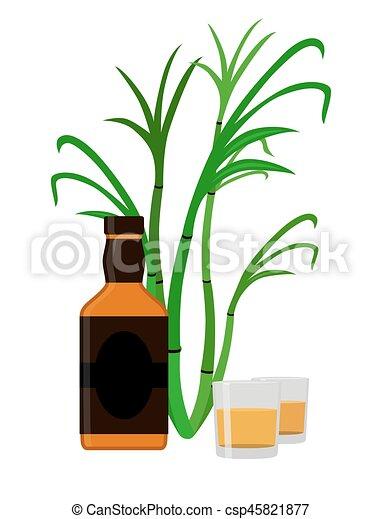 rum set alcohol drink glasses shots rum bottle sugar vectors rh canstockphoto com pongal sugarcane clipart images of sugarcane clipart