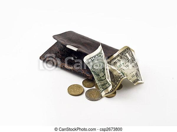 rumpled, armoedig, -, recessie, portemonaie, dollar - csp2673800