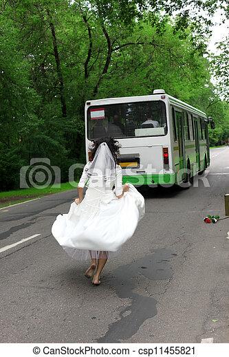 Run Away Bride to bus - csp11455821