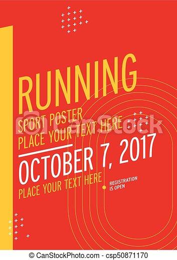 run championship poster design template running marathon vector