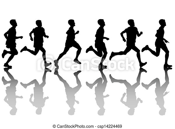 Run Men Vector Drawing Athletes On Running Race