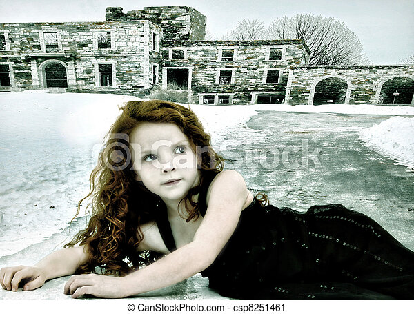 Runaway Lost Girl Child Conceptual Image - csp8251461