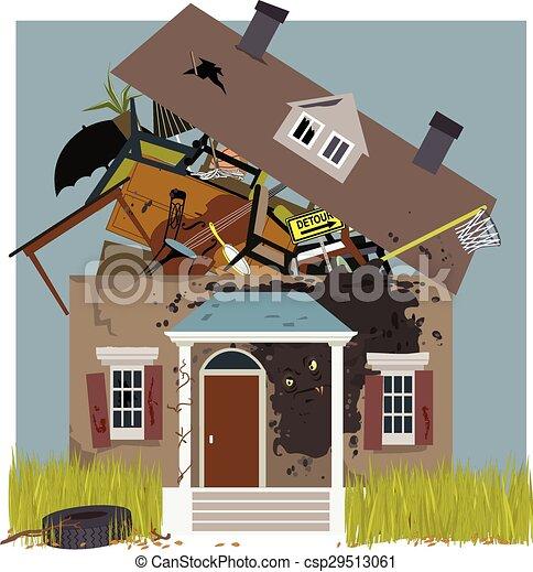 rundown, casa, molde - csp29513061