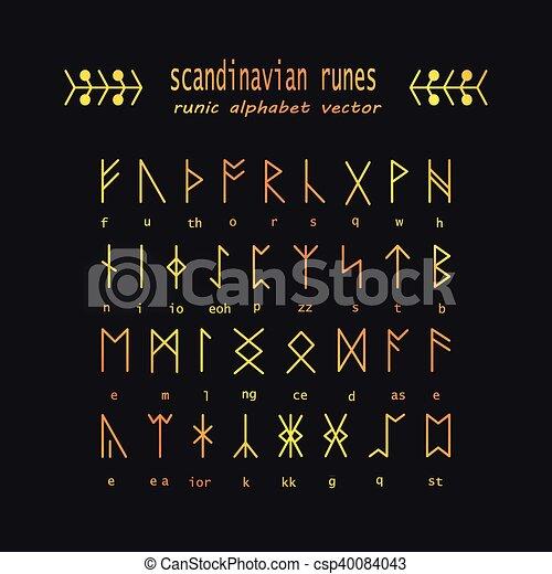Set Of Old Norse Scandinavian Runes Rune Alphabet Occult Ancient