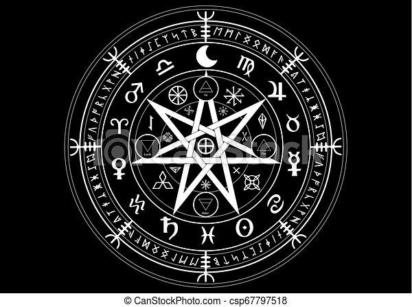 runes, mystique, ensemble, année, la terre, mandala, signes, divination., symboles, ancien, isolé, noir, astrologique, roue, wicca, symbole, fond, occulte, wiccan, protection., vecteur, sorcières, zodiaque, ou - csp67797518