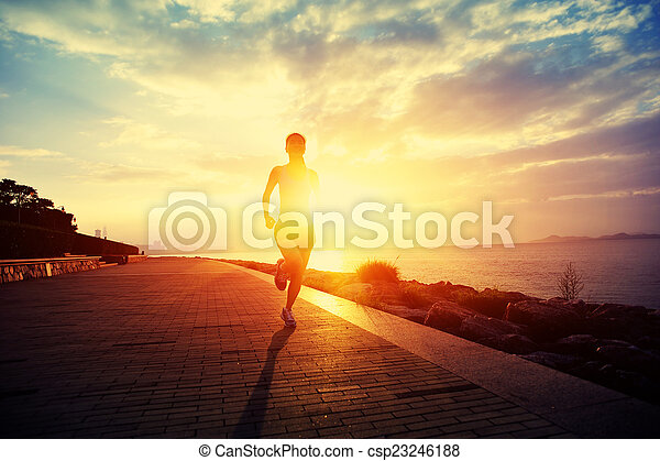 Runner athlete running at seaside.  - csp23246188