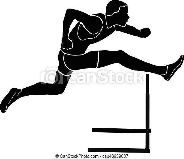 runner athlete running hurdles black silhouette vector vectors rh canstockphoto com hurdle jump clipart hurdle race clipart