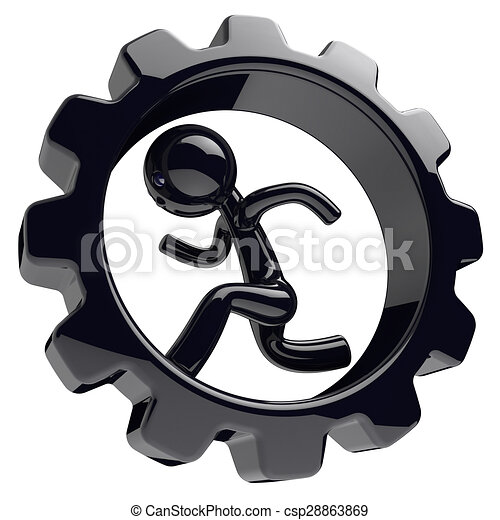 Runner man character inside gearwheel gear wheel black - csp28863869