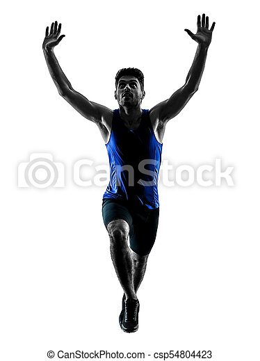 runner sprinter running sprinting athletics man silhouette isola - csp54804423