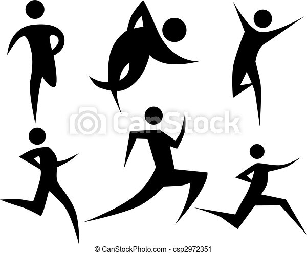 runner stick figure set runner stick figure set isolated on a white rh canstockphoto com stick people art creator stick people art with sticks