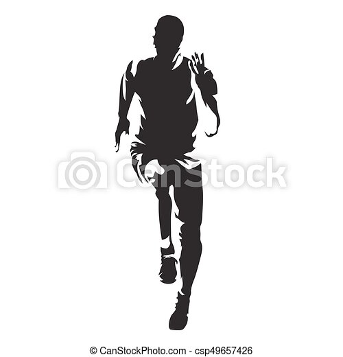 runner vector silhouette front view of sprinting athlete vector rh canstockphoto com runner vector silhouette runner vector art