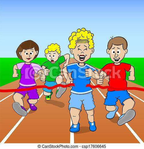 Kids Finish Line Clipart