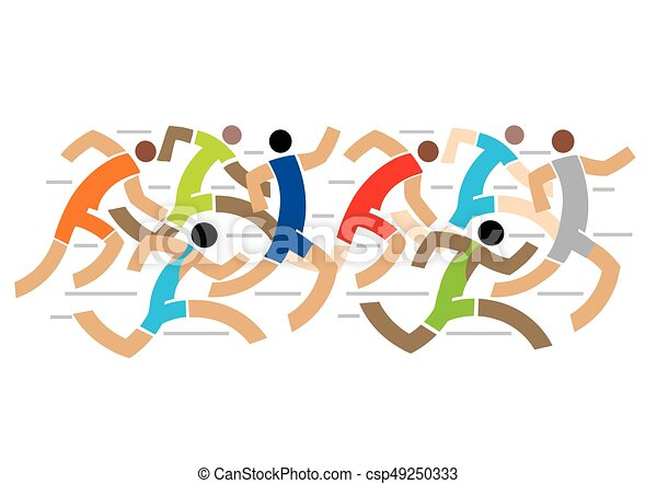Runners Competition Marathon Colorful Stylized Illustration
