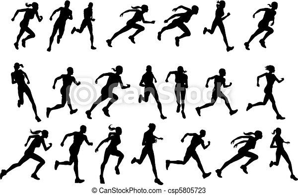 Runners Running Silhouettes Set Of Athletic Looking