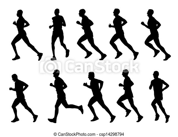 runners silhouettes - csp14298794