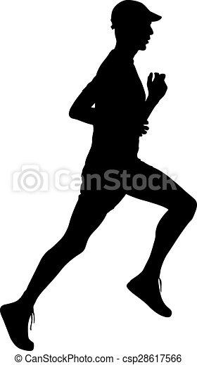 Running black silhouettes. Vector illustration. - csp28617566