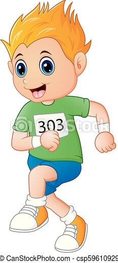 Running boy cartoon - csp59610929