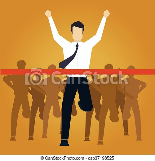 Running Businessman Crossing Finish Line Vector Illustration - csp37198525