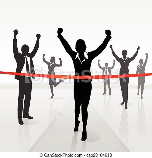 running businesswoman crossing finish line win - csp23104618