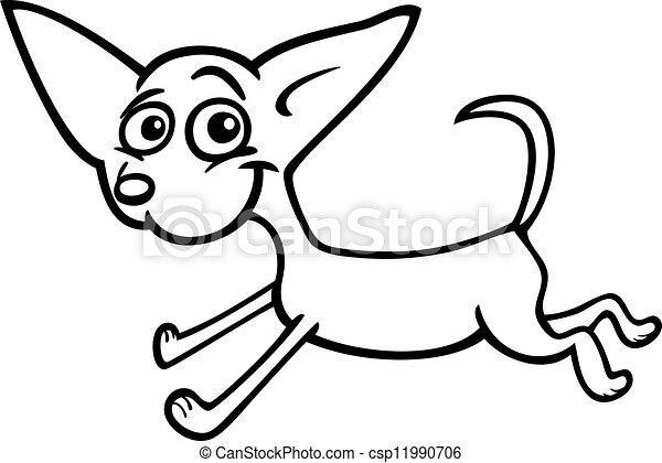 running chihuahua cartoon for coloring - csp11990706