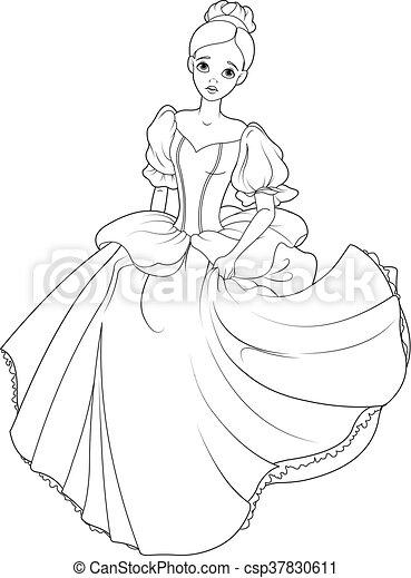 Running cinderella coloring page Cinderella flees the ball