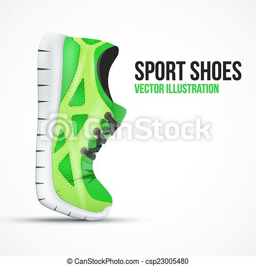 Running curved green shoes. Bright Sport sneakers symbol. - csp23005480