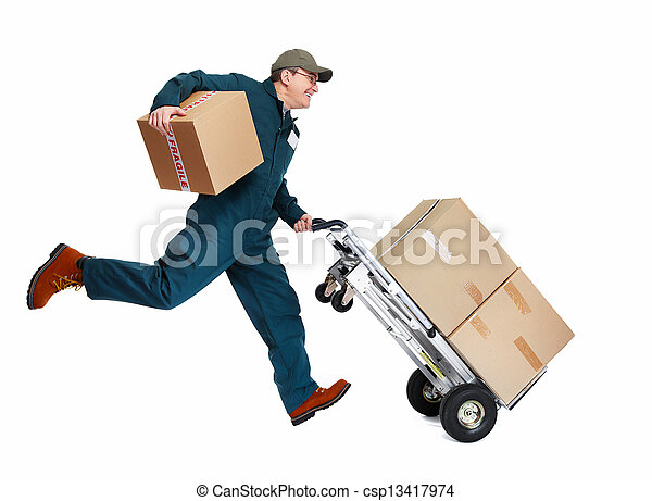 Running Delivery postman. - csp13417974