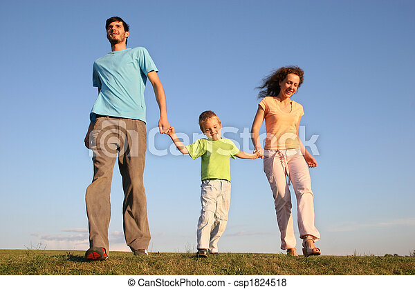 running family on meadow - csp1824518