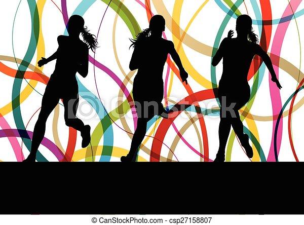 Running fitness women sprinting - csp27158807