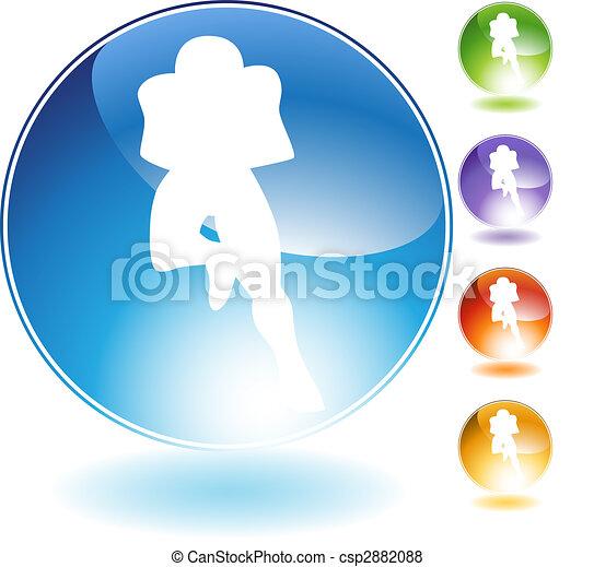 Running Football Crystal Icon - csp2882088