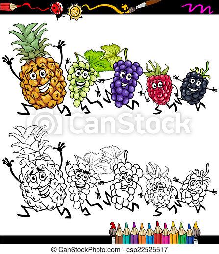 running fruits cartoon coloring page - csp22525517