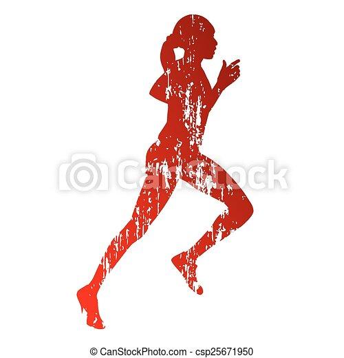 Running girl silhouette - csp25671950