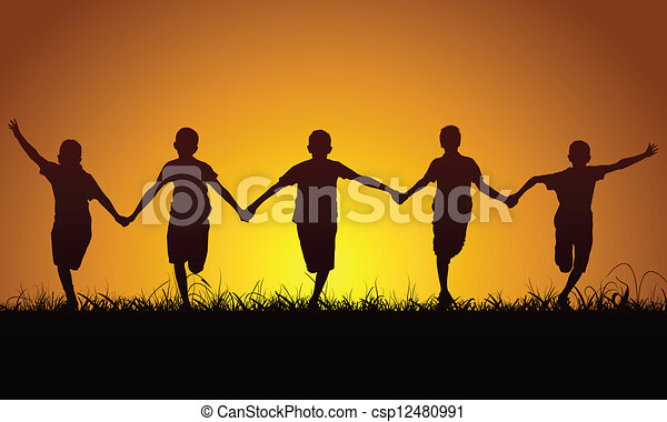 Running happy boys at sunset - csp12480991