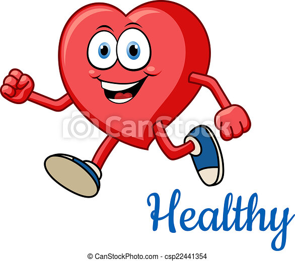 running healthy red heart character for sporting and active rh canstockphoto com  healthy human heart clipart