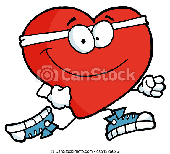 running heart healthy red heart running past clip art vector rh canstockphoto com  healthy human heart clipart