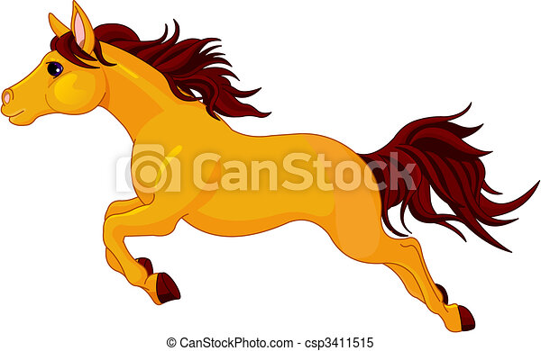 running horse illustration of running beautiful golden horse rh canstockphoto com Drawings of Horses Running Horse Race Track Clip Art