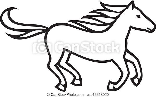 running horse rh canstockphoto com Drawings of Horses Running Horse Racing Clip Art