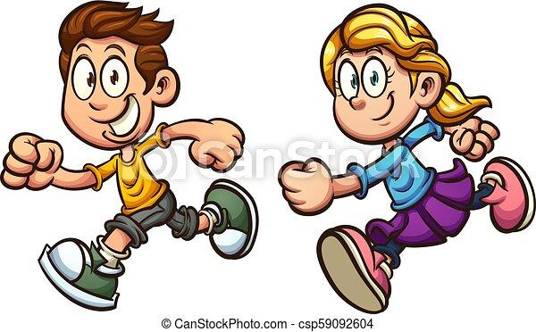 Running Kids Cute Cartoon Running Boy And Girl Vector Clip Art