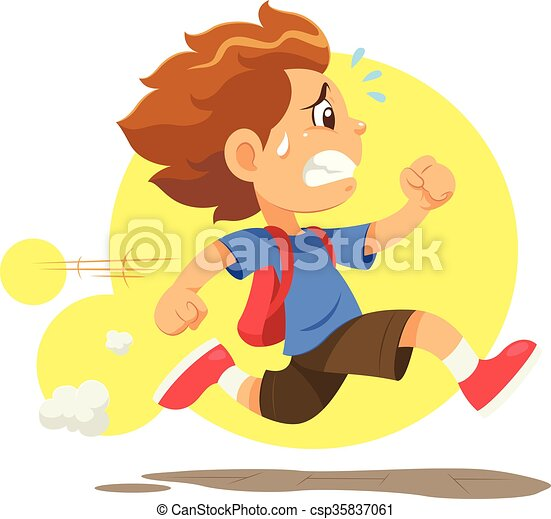 Running Late To School A Boy Running Hurriedly Because He Late To