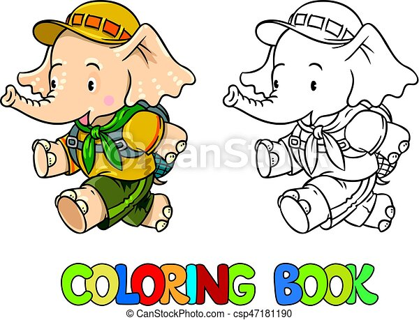 Running little baby elephant. coloring book. scout. Scout. funny ...