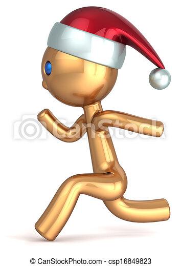 Running man Christmas character - csp16849823