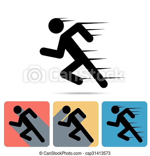 Running Man Icon Sprinter Flat Long Shadow Icons Speed Sign
