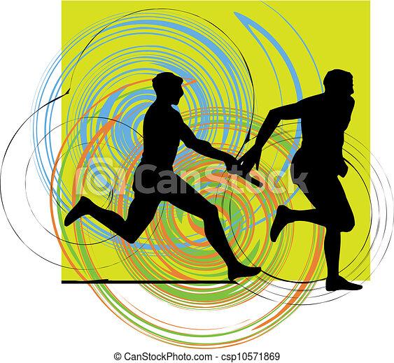 Running men, Vector illustration - csp10571869